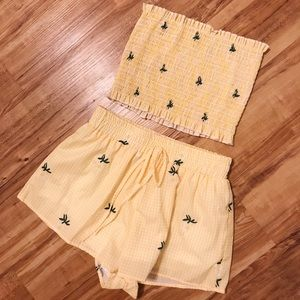 Other - Yellow Gingham Two Piece Set